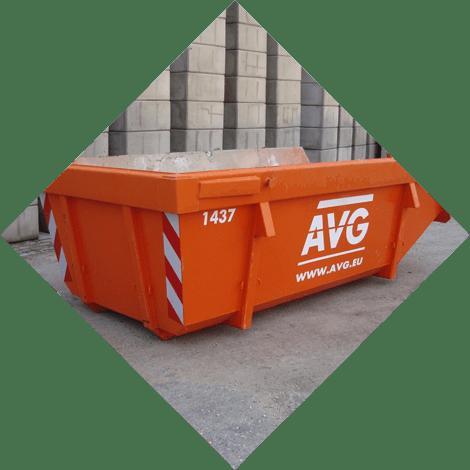 AVG verhuurt allerlei afvalcontainers, zoals bouwbakkie, puincontainer, afval container, bouwafval container, container voor grond afvoeren, vuilcontainer, grofvuil container, bouwcontainer, containerbak, afzetcontainer, grond container, container voor puin afvoeren en andere containers met verschillende kuub inhoud.
