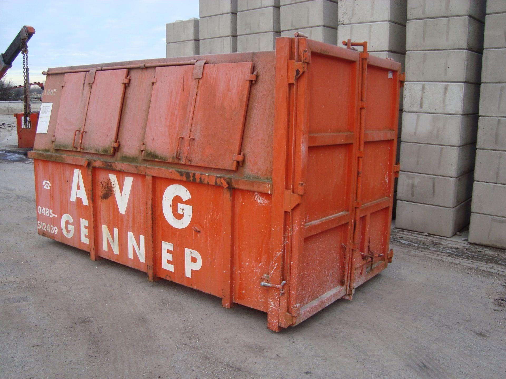 Gesloten afval container te huur bij AVG. AVG verhuurt allerlei afvalcontainers, zoals bouwbakkie, puincontainer, afval container, bouwafval container, container voor grond afvoeren, vuilcontainer, grofvuil container, bouwcontainer, containerbak, afzetcontainer, grond container, container voor puin afvoeren en andere open en gesloten containers met verschillende kuub inhoud.