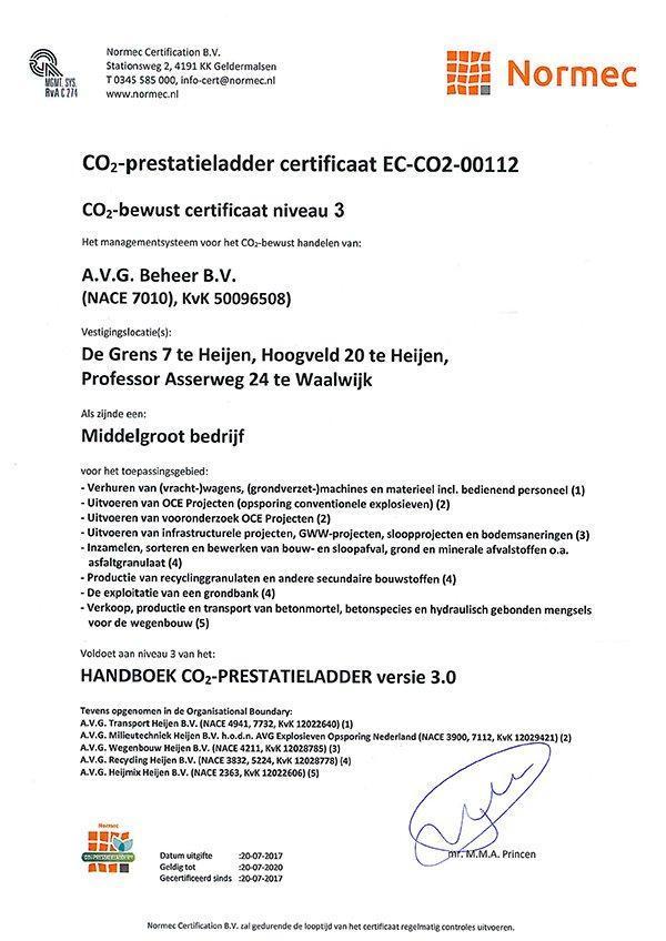 CO2 prestatieladder certificaat voor AVG