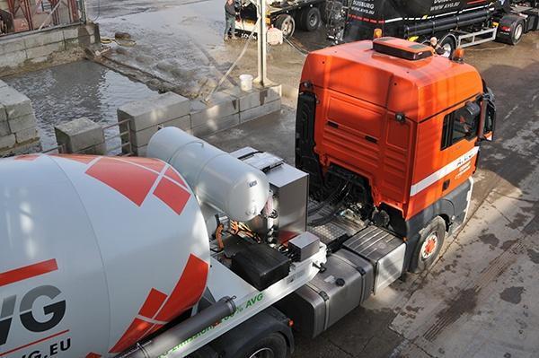 Elektrischen betonmischern von AVG Baustoffe, AVG Heijmix betonzentrale. 100 prozent elektrischen Betonmischern und hybride betonmischern.