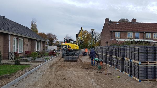 AVG Straßenbau, Grunduntersuchung, Kanalisation, Pflasterarbeiten, Irenehof Cuijk.