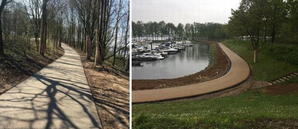 AVG Bouwstoffen leverde in opdracht vanAsfaltbouw uit Middelaar grote hoeveelhedenmenggranulaat voor de fundering van het bospad Waterboulevard Maaspark Well en zorgdevoor het afvoeren van materiaal.