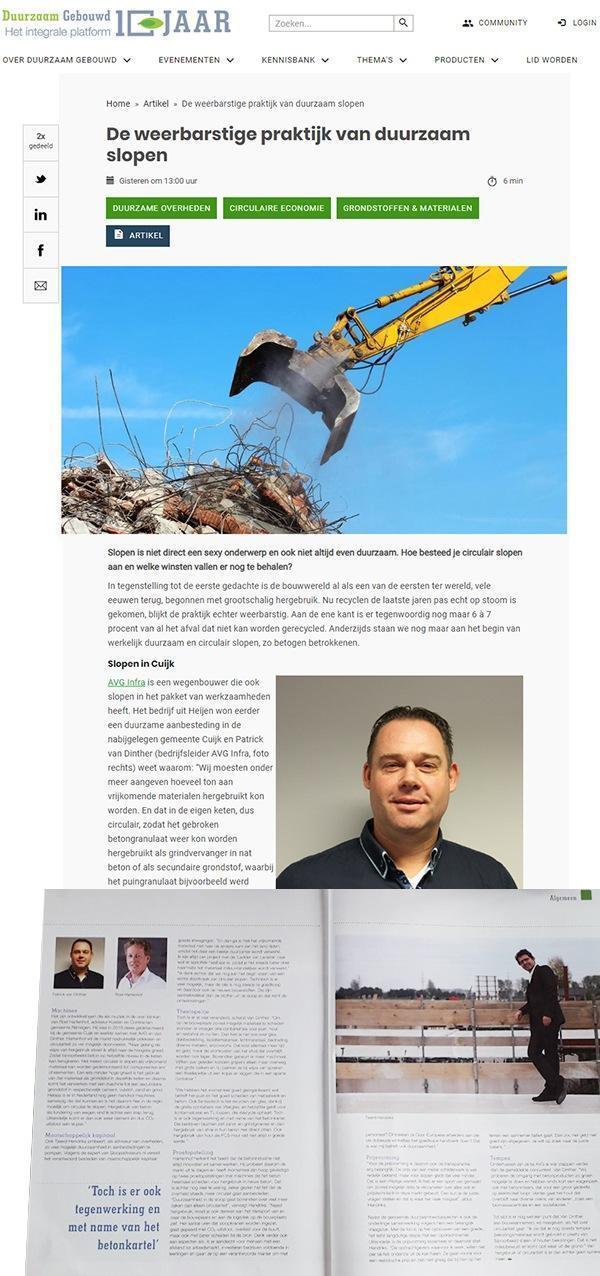 AVG Infra in het Nieuws met duurzaam slopen. De weerbarstige praktijk van duurzaam slopen door Ysbrand Visser, in Duurzaam Gebouwd media.