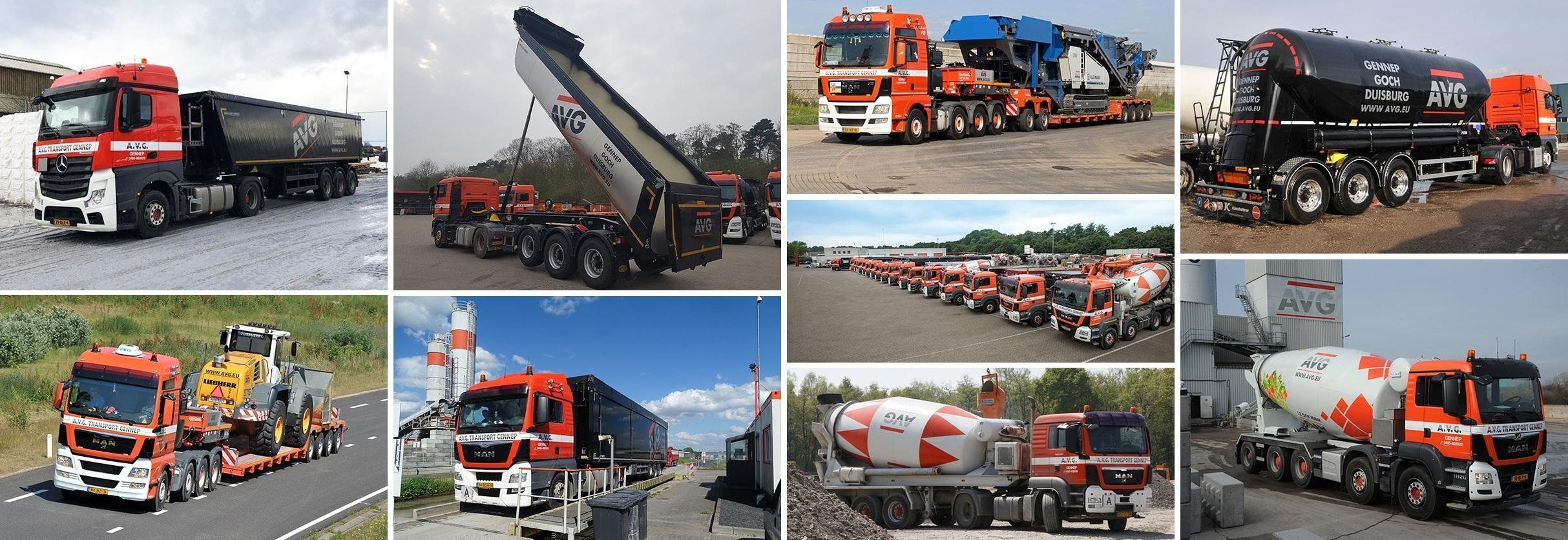 AVG Transport in Heijen. Kippertransport, Bulktransport, Volumetransport, dieplader transport, speciaal transport.